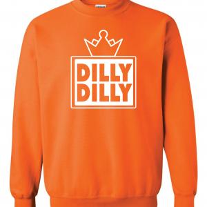 Dilly Dilly Crown, Orange/White, Crew Sweatshirt