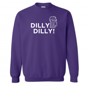 Dilly Dilly Beer, Purple/White, Crew Sweatshirt
