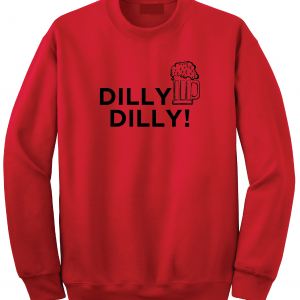 Dilly Dilly Beer, Red/Black, Crew Sweatshirt