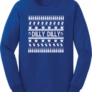 Dilly Dilly Ugly Christmas Sweater, Royal Blue, Long-Sleeved