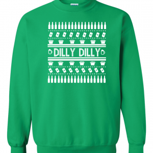 Dilly Dilly Ugly Christmas Sweater, Green, Crew Sweatshirt