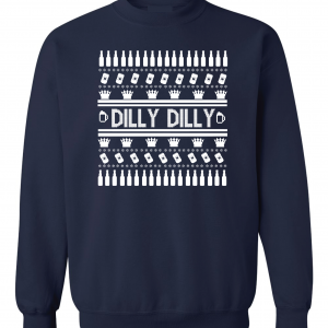 Dilly Dilly Ugly Christmas Sweater, Navy, Crew Sweatshirt