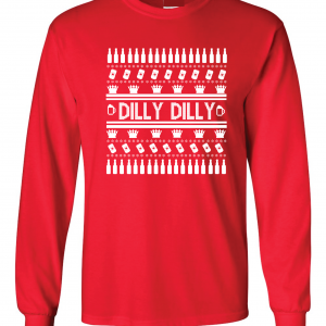 Dilly Dilly Ugly Christmas Sweater, Red, Long-Sleeved
