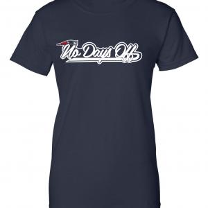 No Days Off - New England Patriots, Navy, Women's Cut T-Shirt