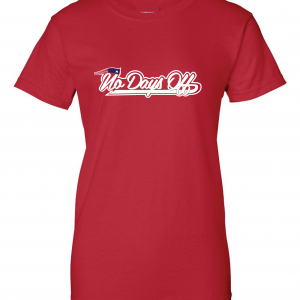 No Days Off - New England Patriots, Red, Women's Cut T-Shirt