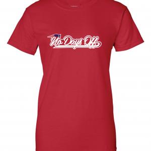 No Days Off - New England Patriots, Red, Women's Cut T-Shirt