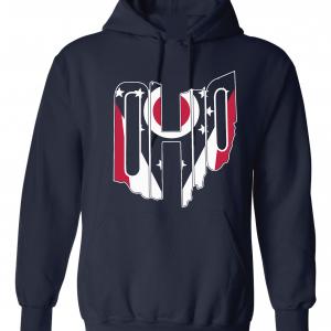 Ohio Flag State Name Shirt, Navy, Hoodie