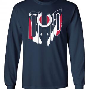 Ohio Flag State Name Shirt, Navy, Long-Sleeved