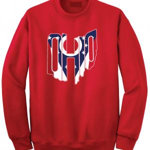 Ohio Flag State Name Shirt, Red, Crew Sweatshirt