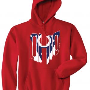 Ohio Flag State Name Shirt, Red, Hoodie