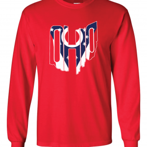 Ohio Flag State Name Shirt, Red, Long-Sleeved
