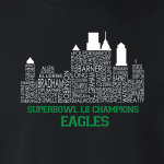 Philly Skyline Superbowl - Philadelphia Eagles, Hoodie, Long-Sleeved, T-Shirt, Crew Sweatshirt, Women's Cut T-Shirt