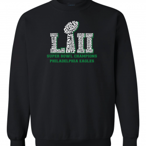 Team Superbowl LII - Philadelphia Eagles, Black, Crew Sweatshirt