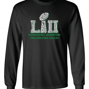 Team Superbowl LII - Philadelphia Eagles, Black, Long-Sleeved