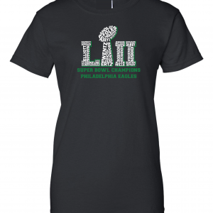 Team Superbowl LII - Philadelphia Eagles, Black, Women's Cut T-Shirt