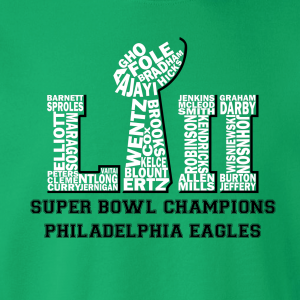 Team Superbowl LII - Philadelphia Eagles, Hoodie, Long-Sleeved, T-Shirt, Crew Sweatshirt, Women's Cut T-Shirt