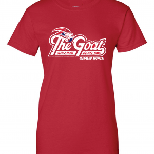GOAT Shaun White, Red, Women's Cut T-Shirt