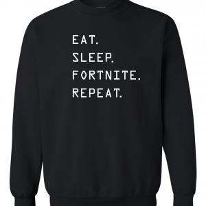 Eat Sleep Fortnite Repeat, Black, Crew Sweatshirt