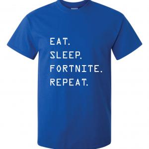 Eat Sleep Fortnite Repeat, Royal Blue, T-Shirt