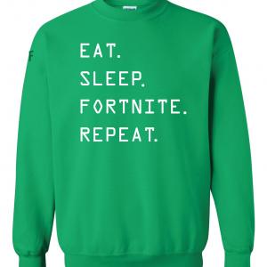 Eat Sleep Fortnite Repeat, Green, Crew Sweatshirt