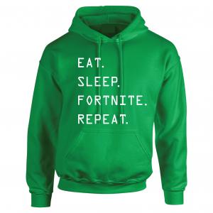 Eat Sleep Fortnite Repeat, Green, Hoodie