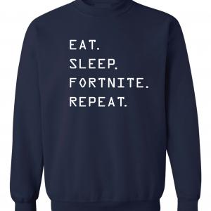 Eat Sleep Fortnite Repeat, Navy, Crew Sweatshirt