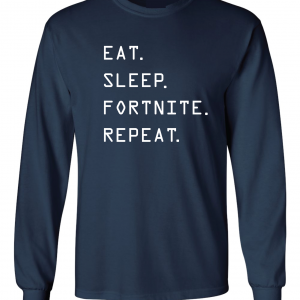 Eat Sleep Fortnite Repeat, Navy, Long-Sleeved Shirt
