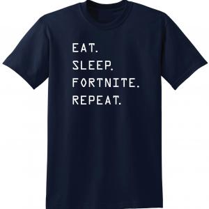 Eat Sleep Fortnite Repeat, Navy, T-Shirt