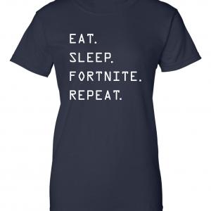 Eat Sleep Fortnite Repeat, Navy, Women's Cut T-Shirt