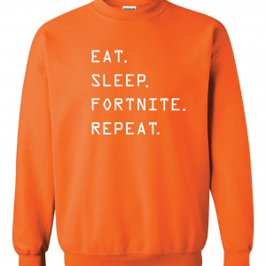 Eat Sleep Fortnite Repeat, Orange, Crew Sweatshirt