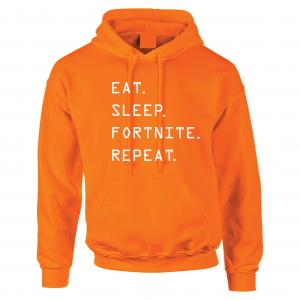 Eat Sleep Fortnite Repeat, Orange, Hoodie