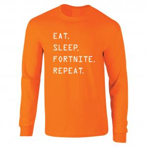 Eat Sleep Fortnite Repeat, Orange, Long-Sleeved Shirt