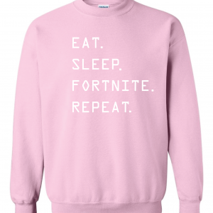 Eat Sleep Fortnite Repeat, Pink, Crew Sweatshirt