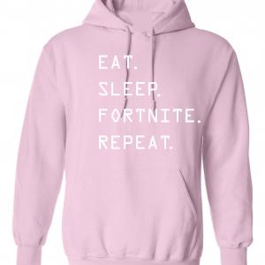 Eat Sleep Fortnite Repeat, Pink, Hoodie