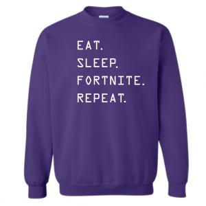 Eat Sleep Fortnite Repeat, Purple, Crew Sweatshirt