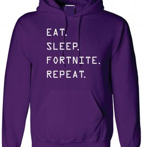 Eat Sleep Fortnite Repeat, Purple, Hoodie