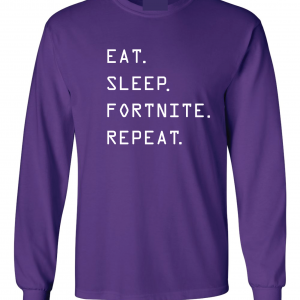 Eat Sleep Fortnite Repeat, Purple, Long-Sleeved Shirt