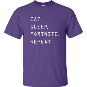 Eat Sleep Fortnite Repeat, Purple, T-Shirt