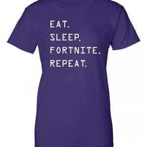 Eat Sleep Fortnite Repeat, Purple, Women's Cut T-Shirt