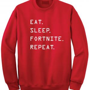 Eat Sleep Fortnite Repeat, Red, Crew Sweatshirt