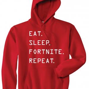 Eat Sleep Fortnite Repeat, Red, Hoodie