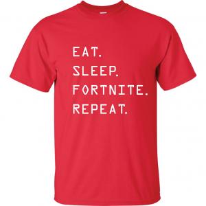 Eat Sleep Fortnite Repeat, Red, T-Shirt
