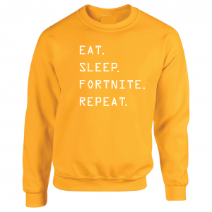Eat Sleep Fortnite Repeat, Gold, Crew Sweatshirt