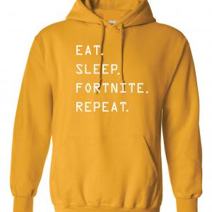 Eat Sleep Fortnite Repeat, Gold, Hoodie
