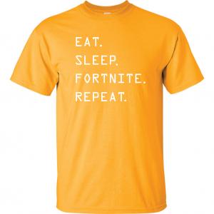 Eat Sleep Fortnite Repeat, Gold, T-Shirt