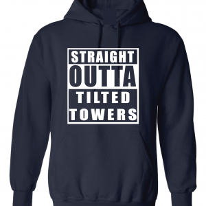 Straight Outta Tilted Towers, Navy, Hoodie