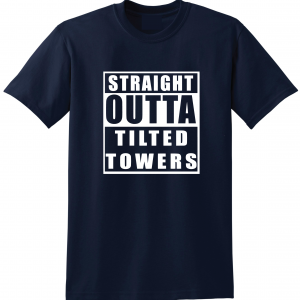 Straight Outta Tilted Towers, Navy, T-Shirt