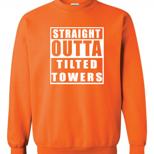 Straight Outta Tilted Towers, Orange-White, Crew Sweatshirt