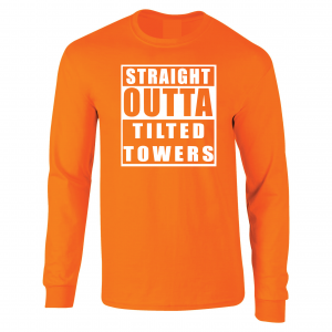 Straight Outta Tilted Towers, Orange-White, Long-Sleeved