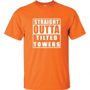 Straight Outta Tilted Towers, Orange-White, T-Shirt